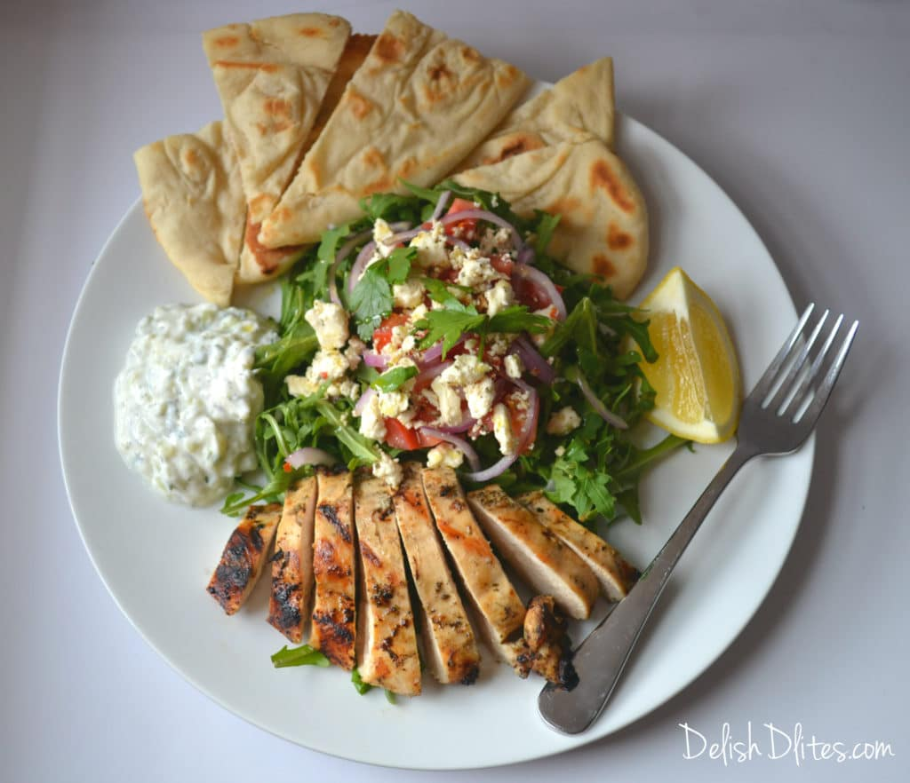 Deconstructed Grilled Chicken Gyro Salad | Delish D'Lites