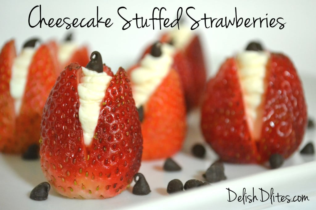Cheesecake Stuffed Strawberries | Delish D'Lites