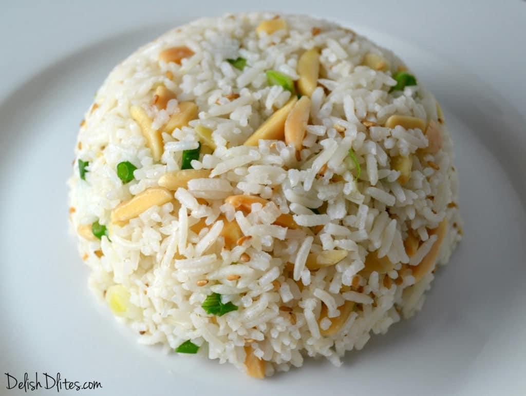 Toasted Almond-Scallion Rice | Delish D'Lites