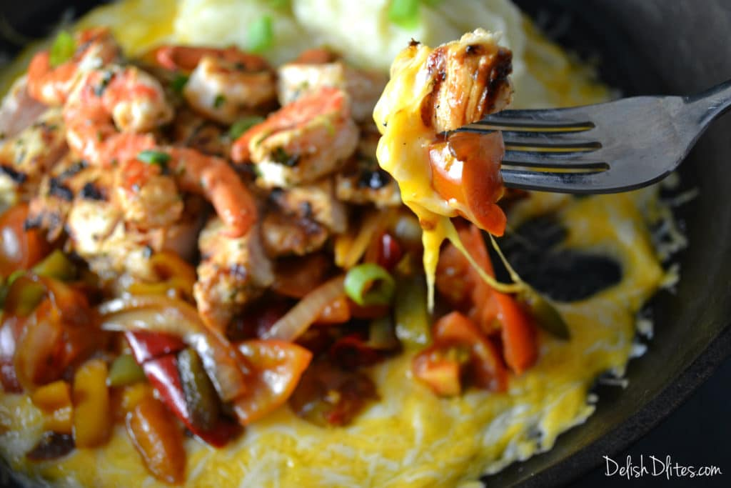 Sizzling Cheesy Chicken and Shrimp | Delish D'Lites