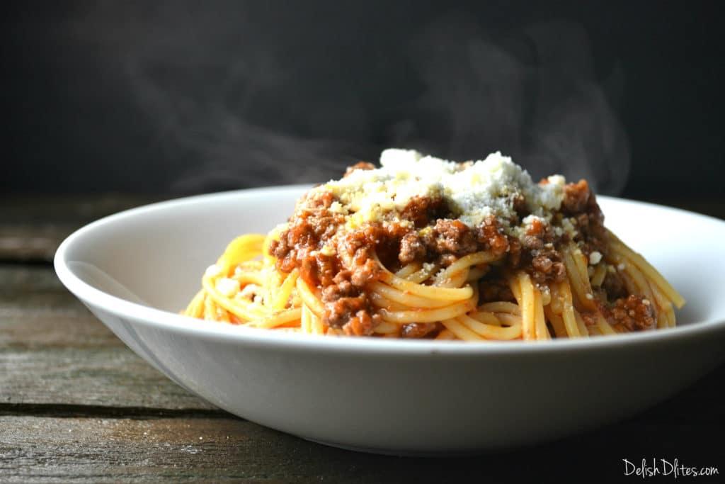Barilla® Spaghetti with Chipotle Ground Beef and Cotija | Delish D'Lites