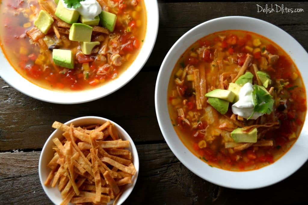 Slow Cooker Chicken Tortilla Soup   Delish DLites