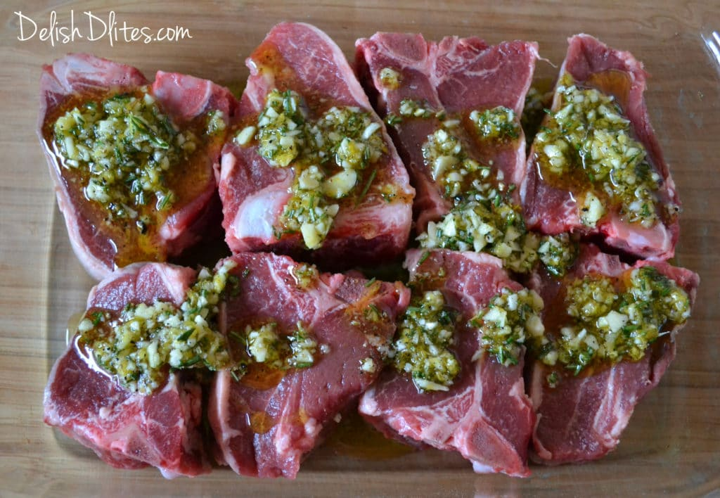 Grilled Loin Lamb Chops With Red Wine, Garlic, Rosemary And Mint ...