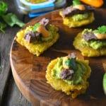 Skirt Steak & Guacamole Tostones | Delish D'Lites