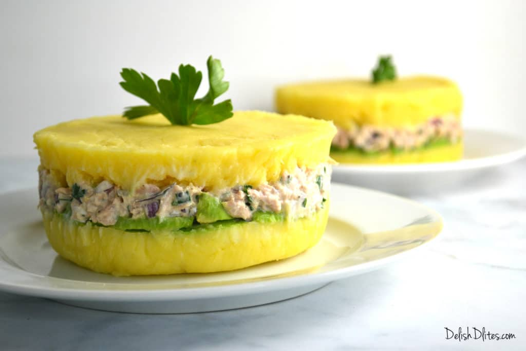 Peruvian Causa Rellena Layered Potato Casserole Delish D Lites