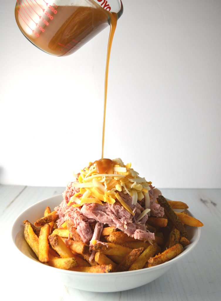 Puerto Rican Pernil Loaded Disco Fries | Delish D'Lites